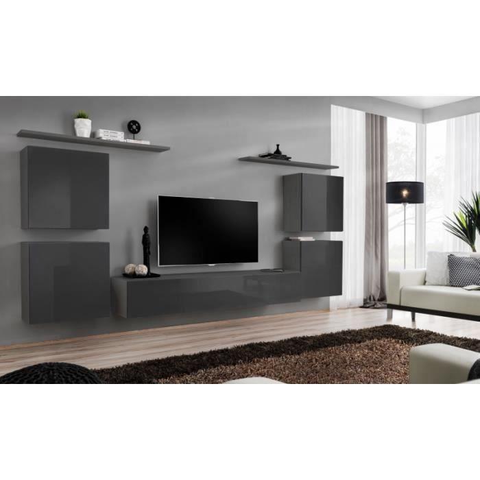 Meuble TV mural SWITCH IV design, coloris gris brillant. 40 Gris
