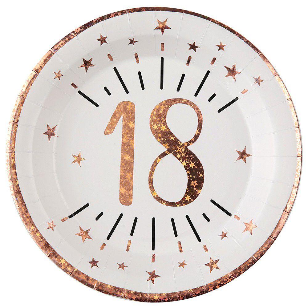 Assiette anniversaire 18 ans blanche et rose gold 22.5cm (x10) REF/7348 Matière carton