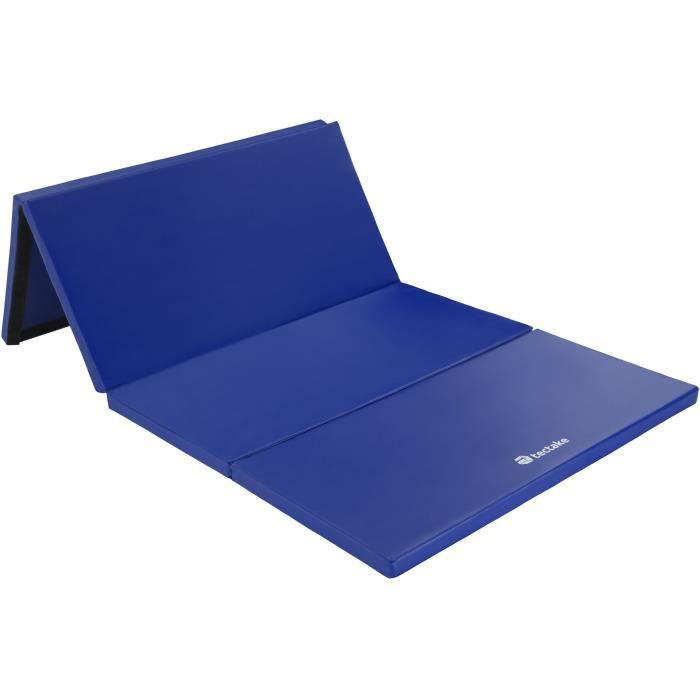 TECTACKE Tapis de Gym Tapis de Sol Tapis de Fitness Tapis de Yoga Pliable 240 x 120 x 5 cm Bleu