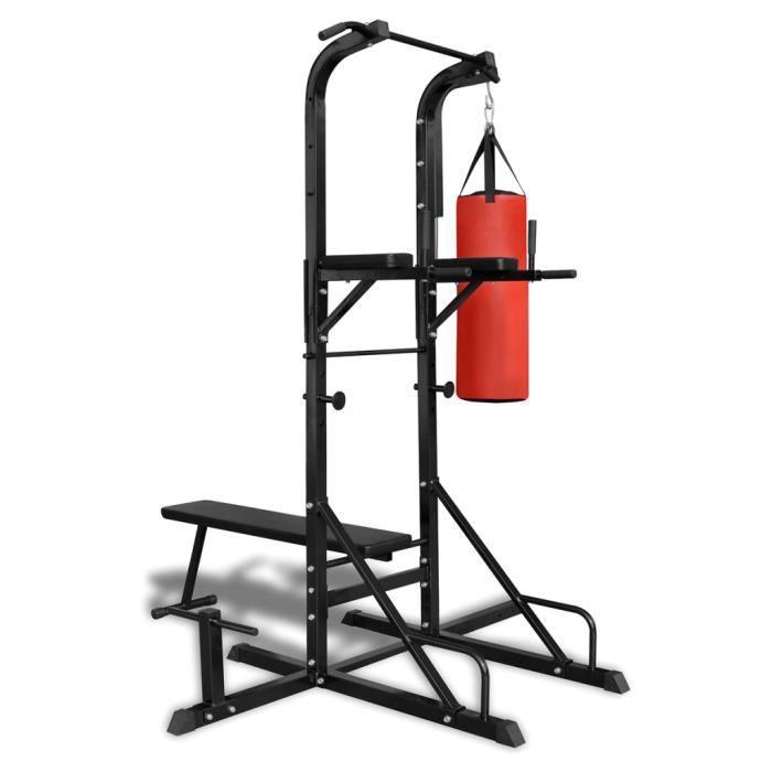 Chaise romaine avec banc pour abdominaux et sac de frappe Augmenter force naturelle de corps et masse musculaire