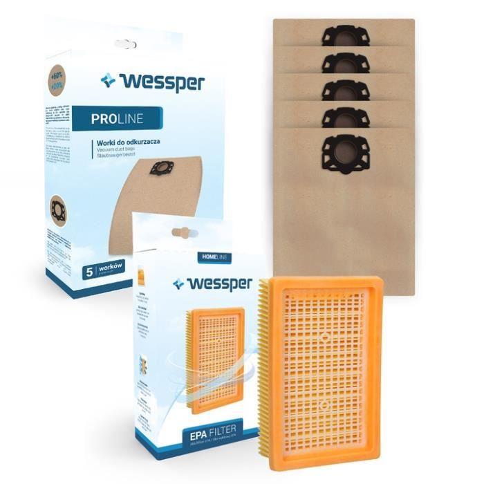 Wessper 5 sacs en papier + filtre pour aspirateurs KARCHER WD4 WD 4 Car Kit, WD 4 Premium WD 5 Premium Renovation, WD 6 P Premium