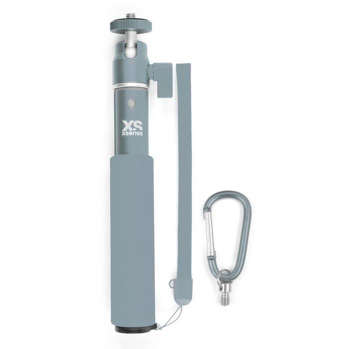 XSories - U-SHOT - Perche télescopique 18 à 49 cm pour GoPro, appareil photo ou camera, en aluminium inoxydable, argent