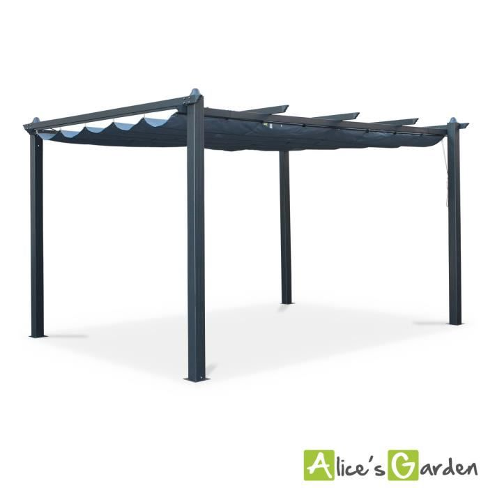 tente de jardin pergola aluminium 3x4m condate gris toile r tractable toile coulissante. Black Bedroom Furniture Sets. Home Design Ideas