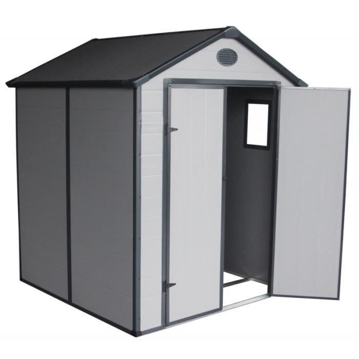 ABRI JARDIN - CHALET Abri de jardin en résine gris 3,65m² + kit de fond