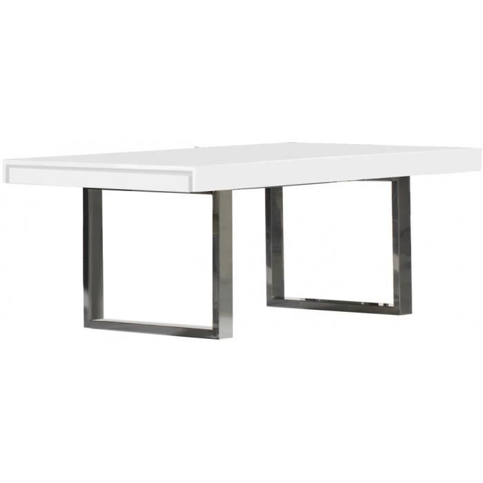 table design laqu blanc brillant pieds inox achat vente table a manger seule table design. Black Bedroom Furniture Sets. Home Design Ideas