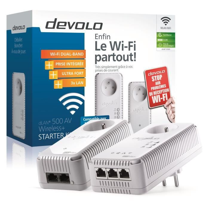 devolo 1829 dlan 500 av wireless prise r seau cpl wi fi 500 mbit s 3 ports fast ethernet. Black Bedroom Furniture Sets. Home Design Ideas