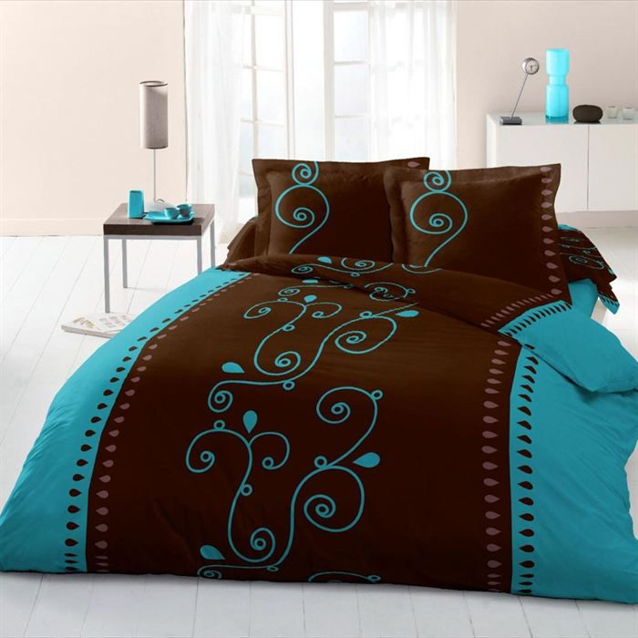 cacao barry turquoise parure de couette 3 pcs 200x achat. Black Bedroom Furniture Sets. Home Design Ideas