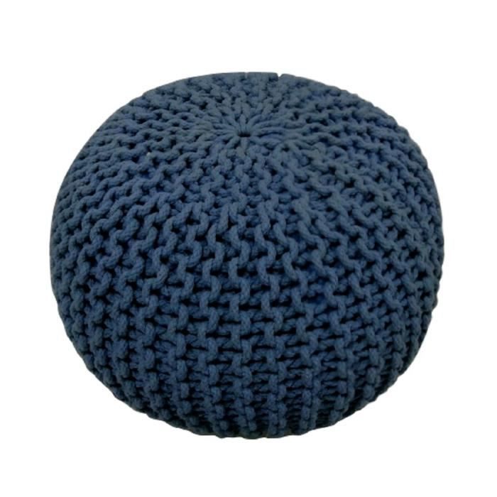 today pouf tricot waby sabi 100 coton 45xh30 cm bleu fonc achat vente pouf poire 100. Black Bedroom Furniture Sets. Home Design Ideas