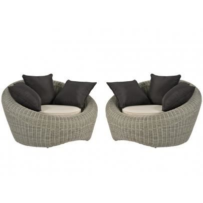 Lot de 2 fauteuils de jardin WHITEHEAVEN en rés... - Achat ...
