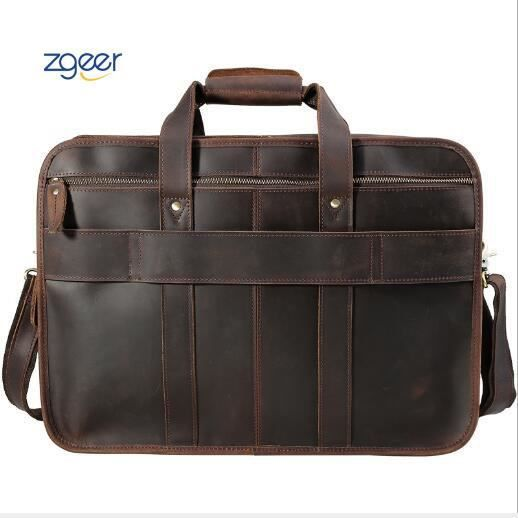 CLUCI Cuir Homme Porte-documents Grande Capacit/é Sac dordinateur Portable de Voyage Sac d/épaule de Business Marron