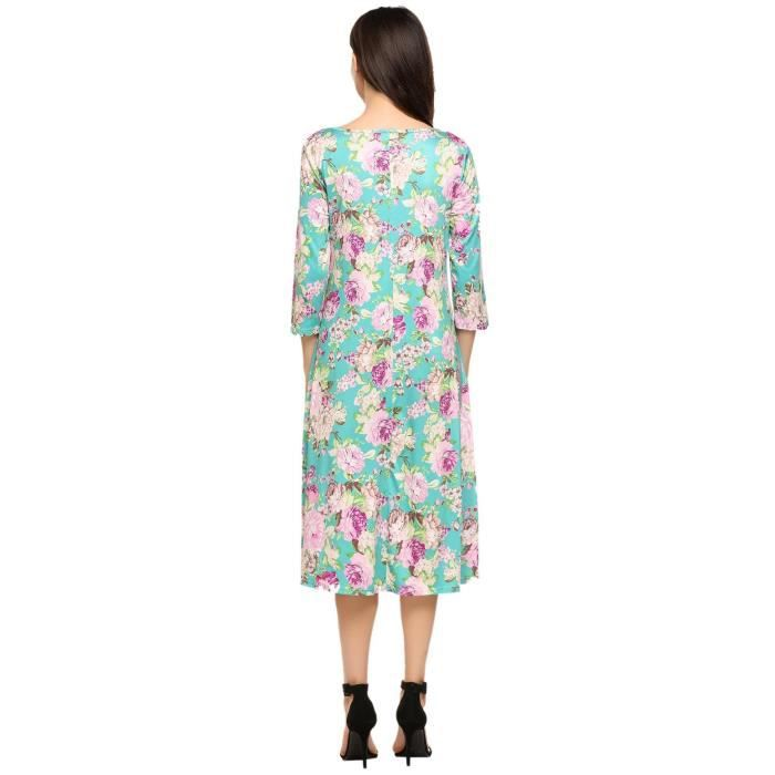 Womens Floral Print 3-4 Sleeve A-line And Flare Dress 2VTQ9Q Taille-36