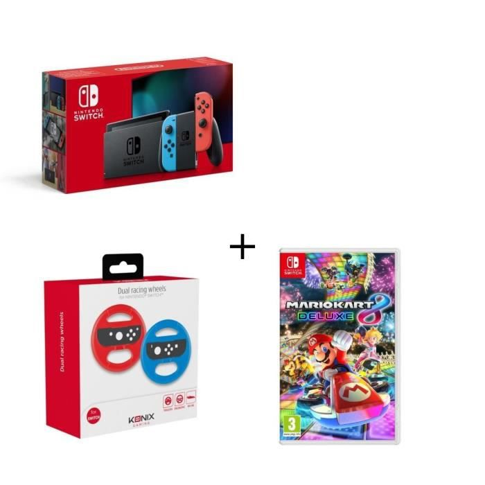 CONSOLE NINTENDO SWITCH Pack Switch Neon + Mario Kart 8 Deluxe + 2 Volants