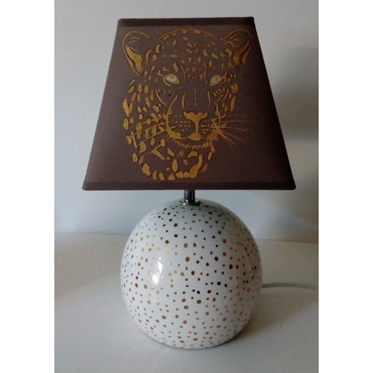 lampe de chevet leopard peint main 2 marron et or achat vente lampe de chevet leopard pei. Black Bedroom Furniture Sets. Home Design Ideas