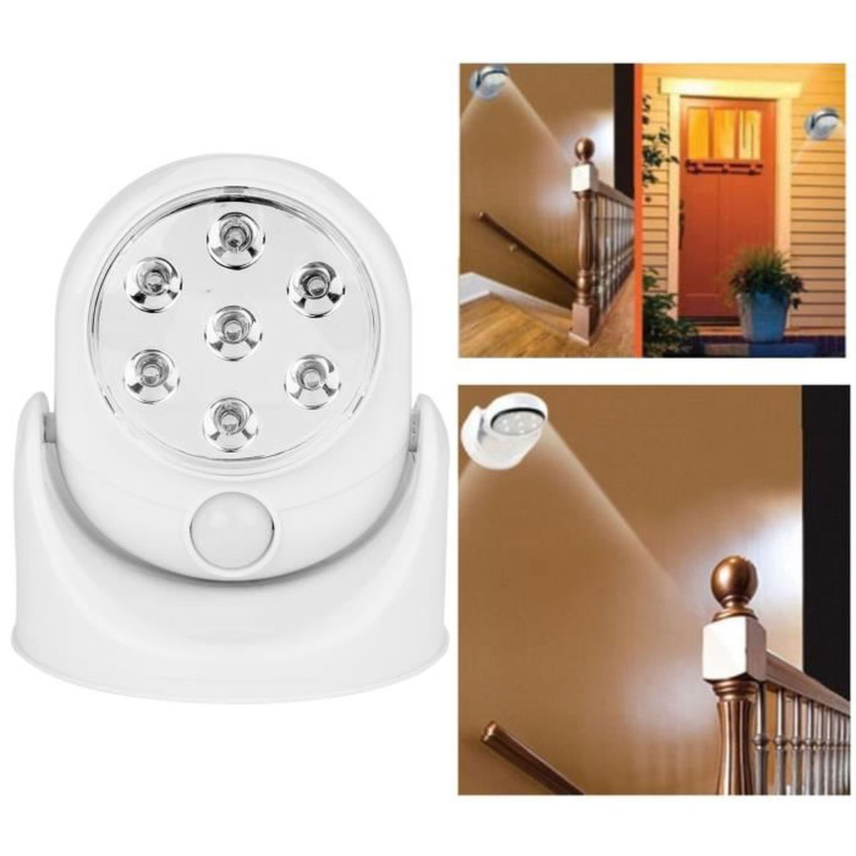 led lampe d tecteur mouvement 360 sans fil capteur patio s curit jardin mur achat vente. Black Bedroom Furniture Sets. Home Design Ideas