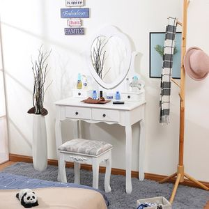 COIFFEUSE Table de Maquillage Blanche Coiffeuse 4 Tiroirs -