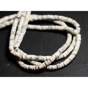 Perles de Pierre Fil 39cm 135pc env Pierre de Lune blanche et arc en ciel Ro