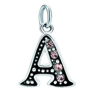 Charm's Women's Pink Crystal Birthstone Charms A-z Alphabe