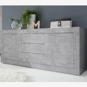 BUFFET - BAHUT  Enfilade 210 cm design gris effet béton ARIEL 4 L