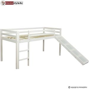 STRUCTURE DE LIT Lit Simple Blanc 90x200 en hauteur avec echelle et