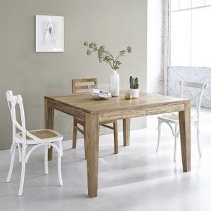 TABLE À MANGER SEULE Table en bois de teck recyclé carrée 120 avec rall