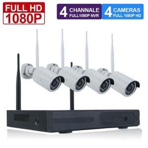 CAMÉRA DE SURVEILLANCE Système De Sécurité Sans Fil 1080P 4Ch Vision Noct