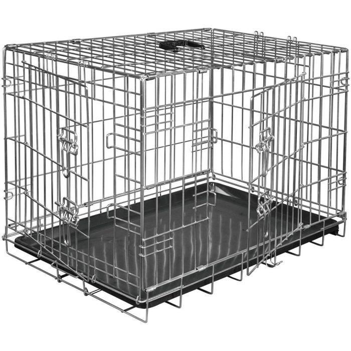 VADIGRAN Cage métallique pliable Classic - 48 x 30 x 38 cm - Argent - Pour chien