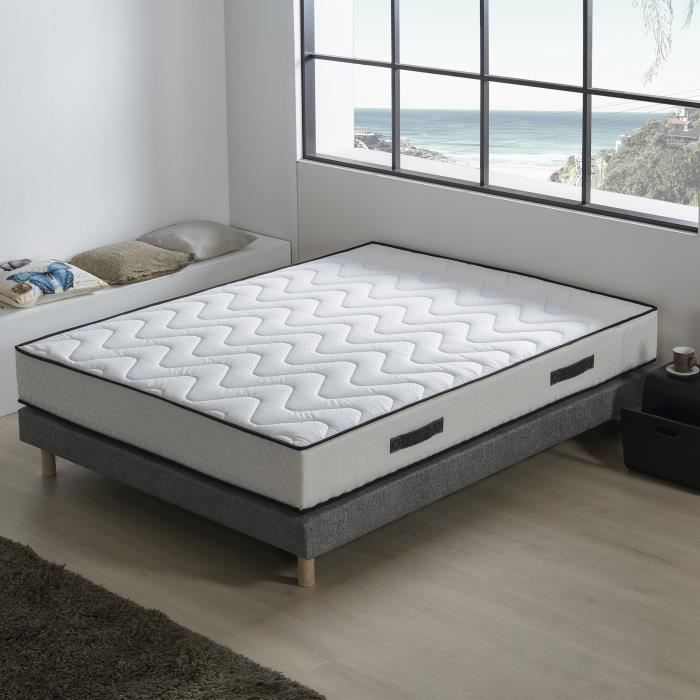 DEKO DREAM Ensemble BELISSE matelas + sommier 160x200 cm - Mousse -...