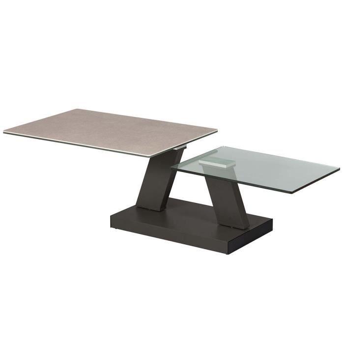 Zehra - Table Basse Plateaux Verre Gris Pierre
