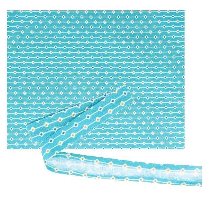 Tissu 55 x 45 cm & biais de couture 3 m x 2 cm - Bleu clair à losanges orange et bleu