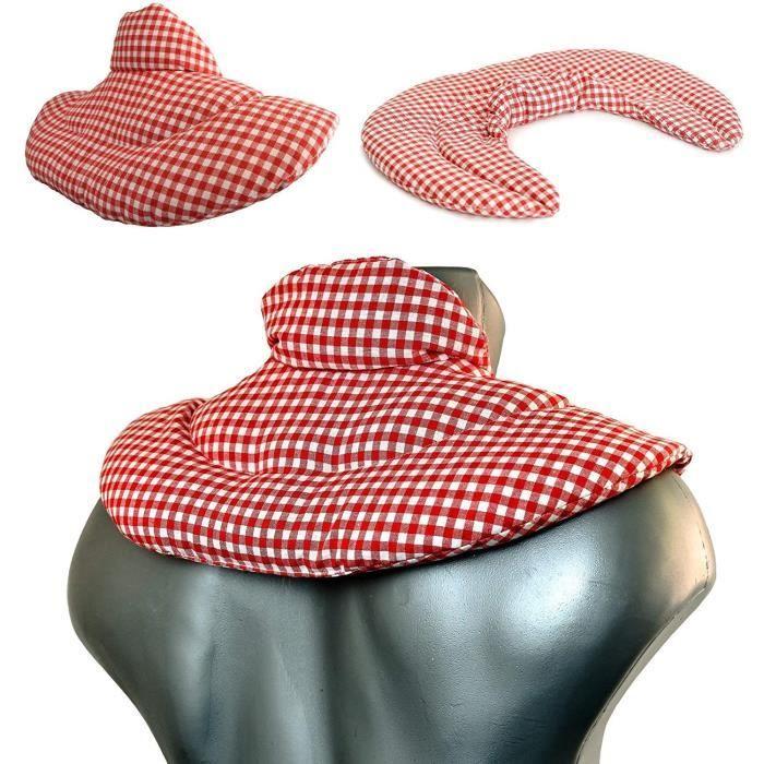 Coussin de nuque avec col montant - Coussin aux graines de lin Bouillotte pour cervicales (Design: Rouge et Blanc)