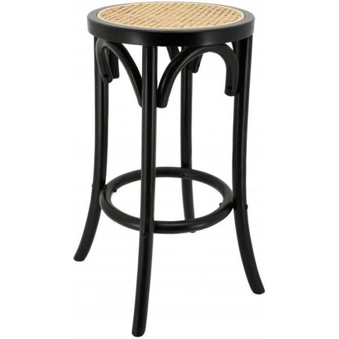 Tabouret de bar en bois laqué noir et cannage