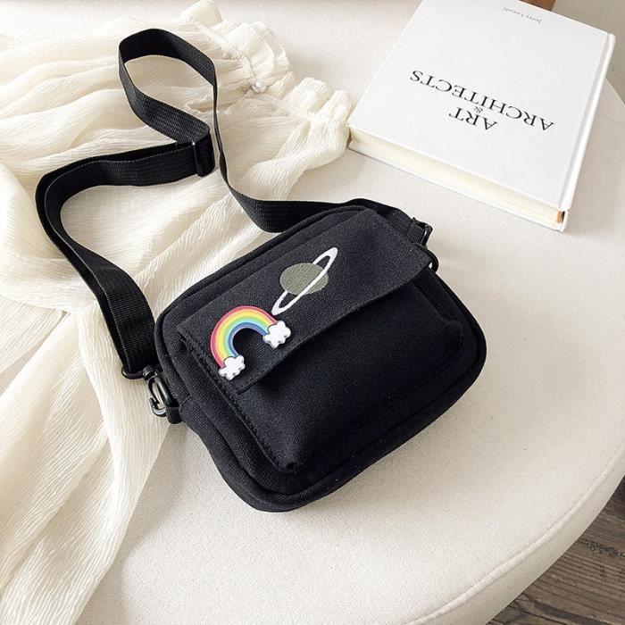 Black -Mini sacs à bandoulière en toile pour femmes, petits sacs à main féminin, sacoche à épaule, sac d'étudiant coréen, sac à r