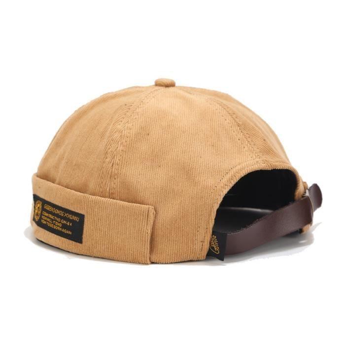 Kaki Taille unique -Bonnet rétro en velours côtelé pour hommes, casquette de motard Docker originale, sans bords, tendance Hip hop,