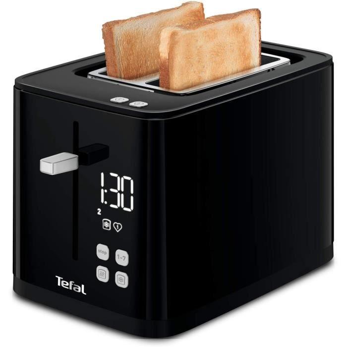 TEFAL SMART N' LIGHT Grille-pain toaster noir 2 Fentes extra large Thermostat réglable 7 Positions Affichage digital Favoris Arrêt D