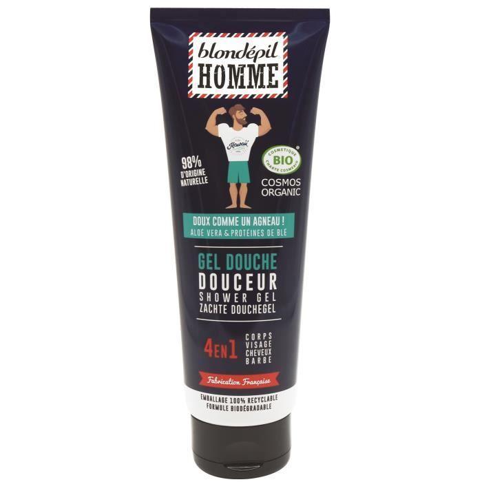BLONDEPIL HOMME Homme Gel bouche Douceur 4 en 1 - Pour corps, cheveux, visage et barbe - Certifié Bio Cosmos** - 250 ml