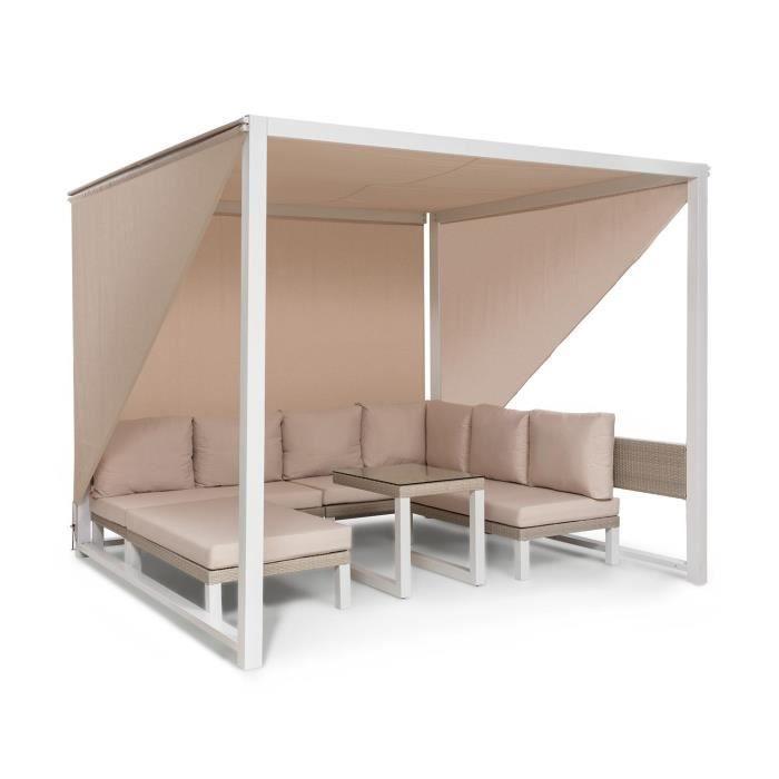Blumfeldt Havanna Combiné Pavillon de jardin 270 x 230 x 270cm & salon lounge pour 8 personnes - Polyrotin & polyester - Blanc &