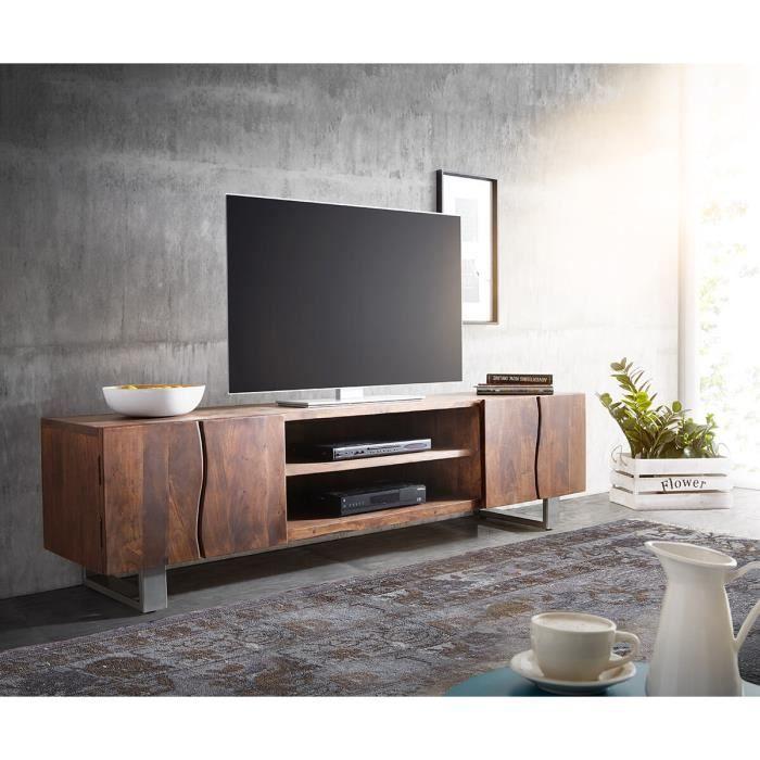 Meuble-TV Live-Edge acacia marron 200 cm 4 portes 2 compartiments tronc d'arbre Lowboard