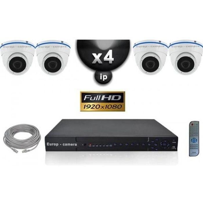 Kit Vidéo Surveillance PRO IP : 4x Caméras POE Dômes IR 20M SONY 1080P + Enregis