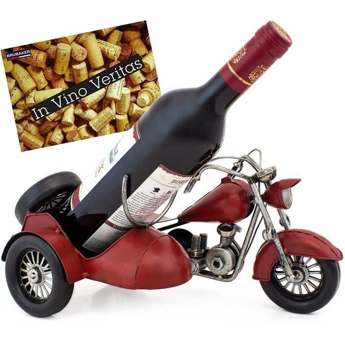 BRUBAKER Porte-bouteille de vin - Moto side-car / Style rétro - Sculpture en Métal peinte à la main - Idée cadeau - Carte de vœux in