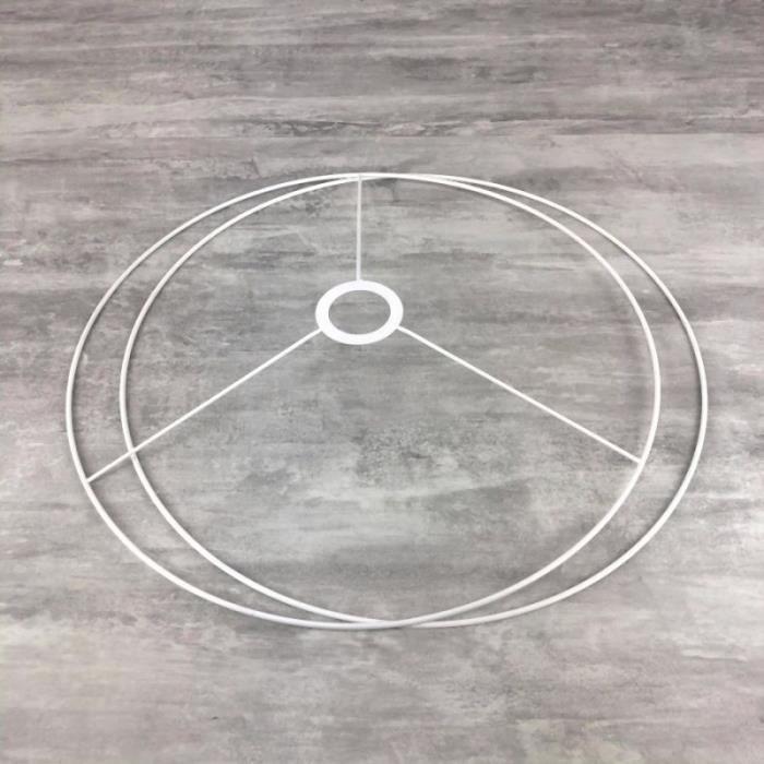 Set d'Ossature Diamètre 40cm pour abat-jour, Grands Anneaux ronds Epoxy blanc, pour douille diam 40mm E27 - Unique