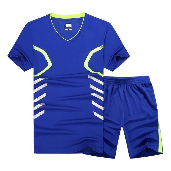 Ensemble de Sport T-shirt Homme Manches Courtes et Short Taille Élastique Respirant Séchage Rapide