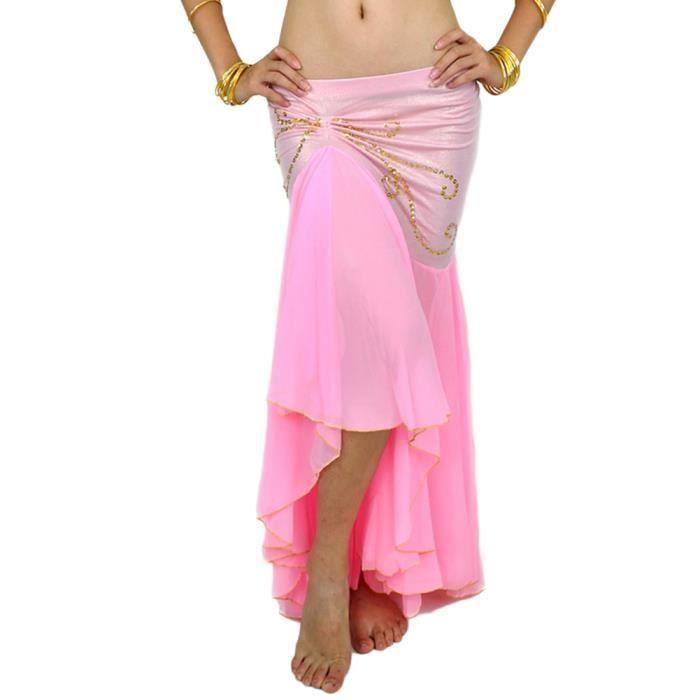 Femme Longue Jupe De Danse Professionnel Arabe Orientale Belly Danse Pink Taille unique