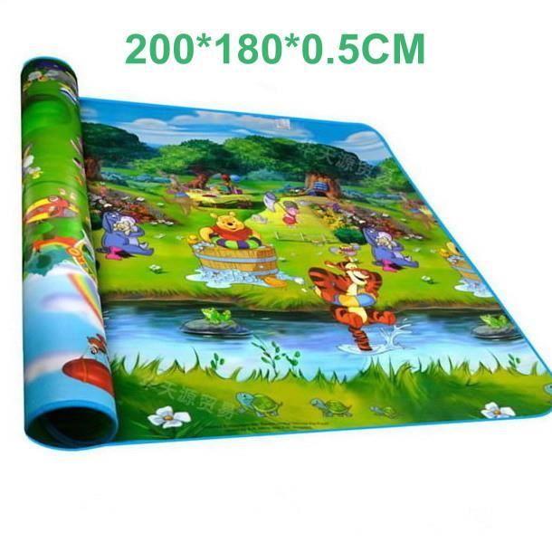 Double Sided Forest River Cartoon bébé Ramper Mats enfants Tapis Puzzle de jeu pour bébé tapis de pique-nique Tapis 200cm * 180cm