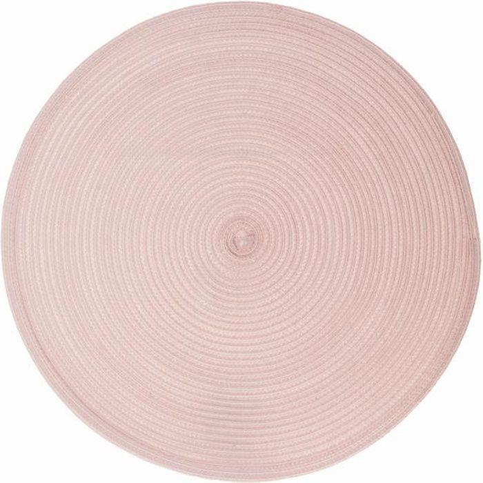 Set de table tressé rond Oscar - Diam. 38 cm - Rose pastel