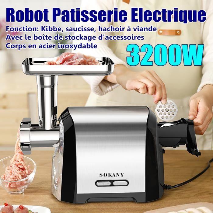 SOKANY 3200W Hachoir à Viande Saucisse Electrique - Robot Patisserie - Broyeur Cuisine Multifonctionnel en Acier inoxydable 220V