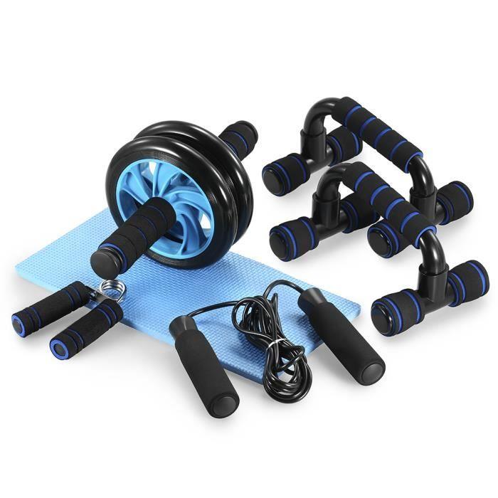 TOMSHOO 5-en-1 AB Roue Kit de rouleau avec Push-Up Bar Sautons Gripper main et Genouillère abdominale de base Carver Fitness Workout