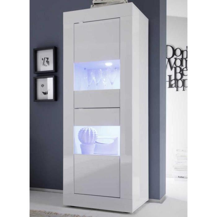 Vitrine 2 portes Blanc laqué brillant à LEDS - MATERA - L 61 x l 43 x H 162