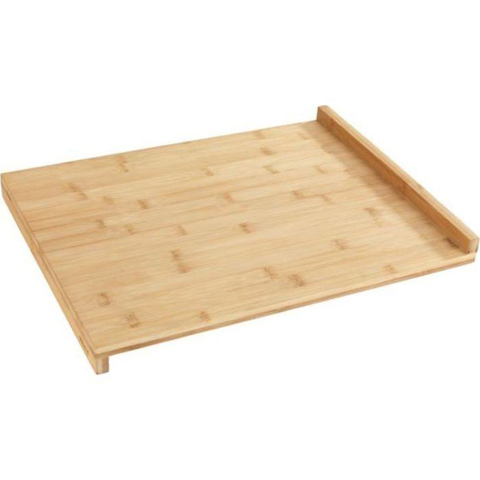 Planche à découper bois, grande planche à découper avec bord de guidage, 45x35cm