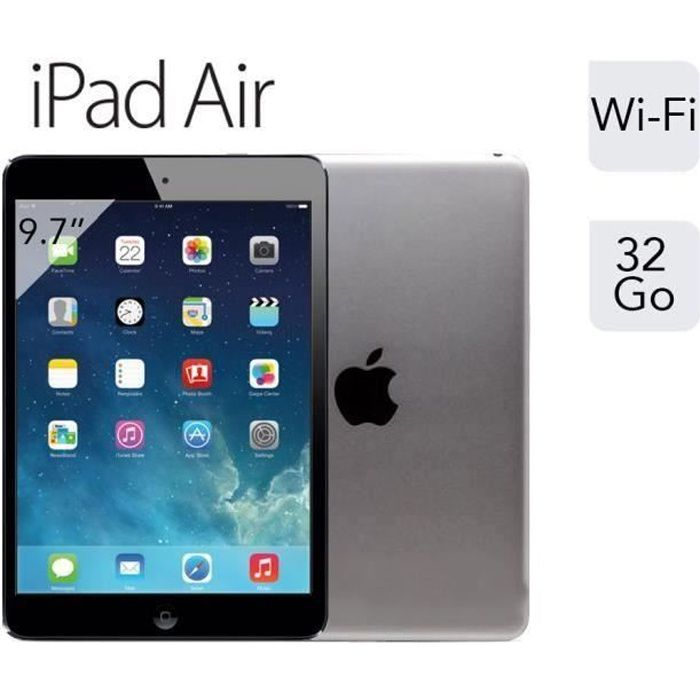 ipad air retina 32 go gris sid ral apple tablette tactile 9 7 39 39 capacitif cran retina multi. Black Bedroom Furniture Sets. Home Design Ideas