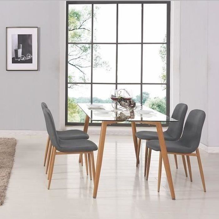 table a manger verre et bois achat vente table a manger verre et bois pas cher cdiscount. Black Bedroom Furniture Sets. Home Design Ideas